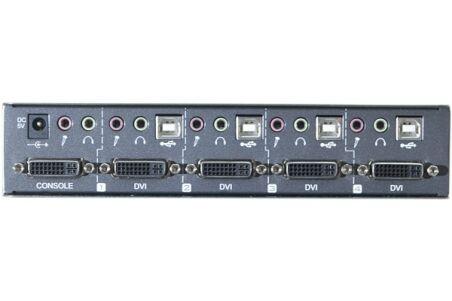 Switch KVM DVI/USB/Audio livré avec cables 1,5m - 4 ports