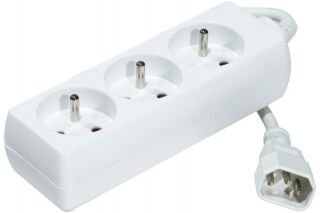 Multiprise onduleur 3 prises / cordon IEC C14 blanche - 1,5