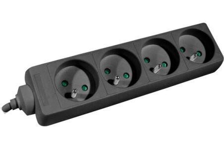 Multiprise 4 prises sans interrupteur noire - 1,5 m