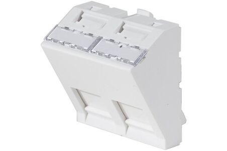 Plastron 45x45 incliné 30° pour 2 ports RJ45 keystone