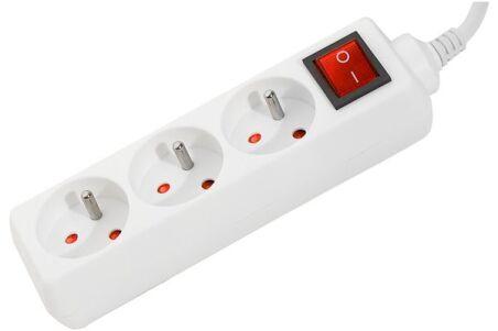 Multiprise 3 prises avec interrupteur blanche - 1,5 m