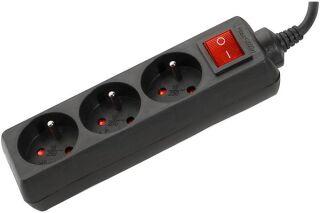 Multiprise 3 prises avec interrupteur noire - 1,5 m