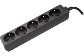 Multiprise 5 prises sans interrupteur noire - 4,0 m