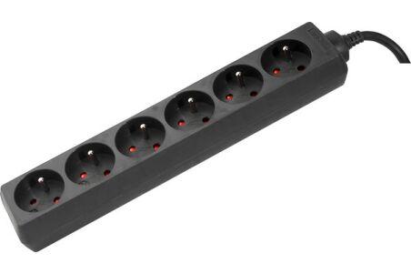 Multiprise 6 prises sans interrupteur noire - 1,5 m