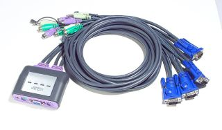 ATEN CS64A KVM 4 PORTS VGA/PS2/AUDIO CABLES INTEGRES