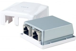 Boitier mural Cat6 contact CAD - 2 ports RJ45 blindés