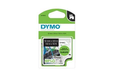 Ruban dymo D1 haute performance 12mm noir sur blanc