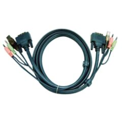Aten 2L-7D05UD cordon KVM DVI/USB/Audio Dual Link - 5M
