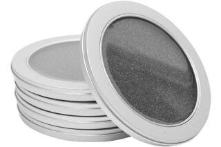Pack 5 boitiers metal rond avec fenetre pour 1 cd