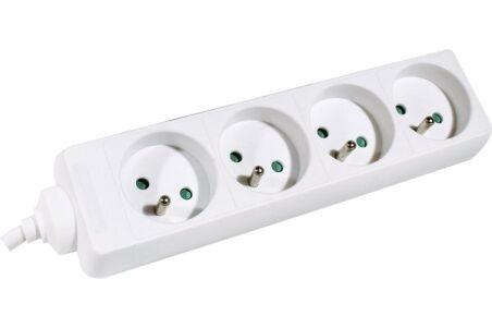 Multiprise 4 prises sans interrupteur blanche - 1,5 m