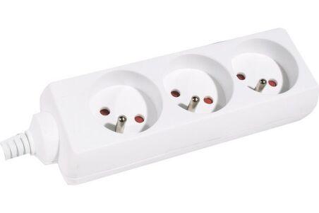 Multiprise 3 prises sans interrupteur blanche - 4,0 m