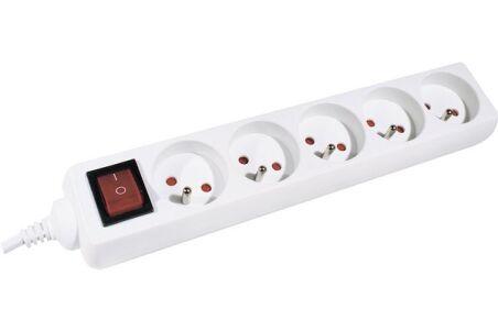 Multiprise 5 prises avec interrupteur blanche - 1,5 m