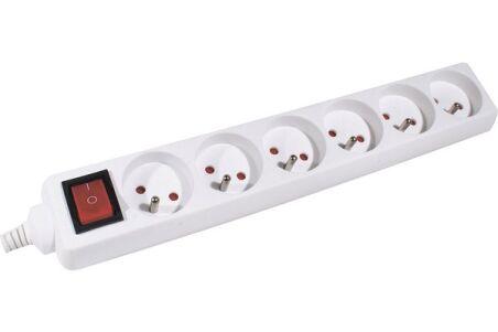 Multiprise 6 prises avec interrupteur blanche - 4,0 m