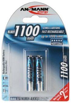 Pile recharg. LR03 AAA Ni-Mh 1100 mAh x 2