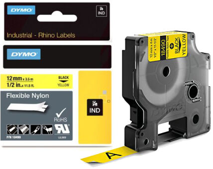 Ruban étiquette Dymo - Nylon Blanche 19 mm