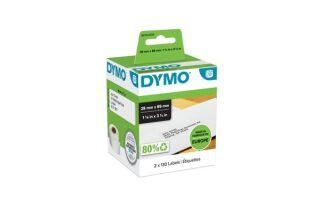 DYMO 2 rouleaux de 130 étiquettes noir sur blanc 28x89mm