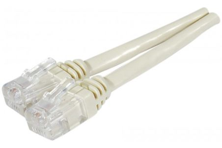 Cable ADSL 2+ cordon Torsadé avec connecteur RJ11 - 15 m ivoire