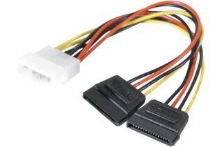Adaptateur d'alimentation Molex vers 2x SATA - 15 cm