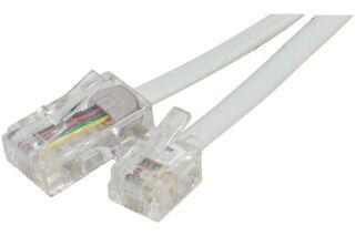 Cordon téléphonique RJ11 / RJ45 blanc - 2 m