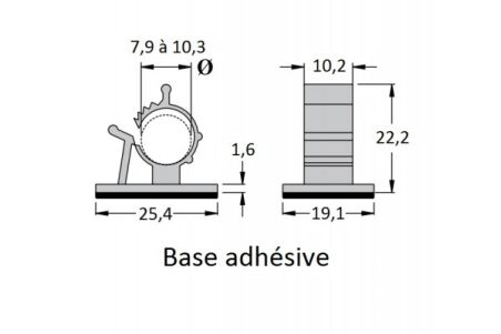Serre-câble adhésif diamètre - 7,9 à 10,3 mm