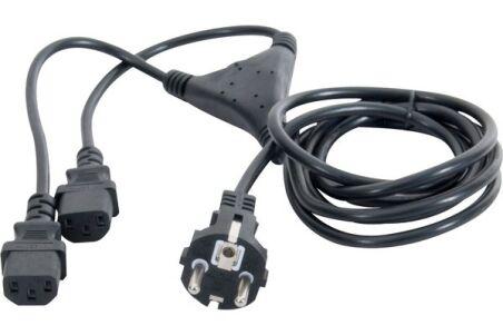 """Cordon électrique en """"Y"""" 1 x CEE7 droit / 2 x C13 - 1,8 m"""