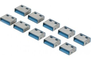 Lot de 10 bouchon-cadenas USB type A Codage bleu