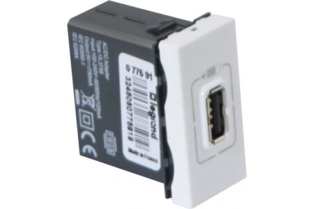 Chargeur 1 usb 22,5X45 legrand universel
