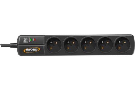INFOSEC Multiprise S5 BLACK LINE II parafoudre 5 prises avec