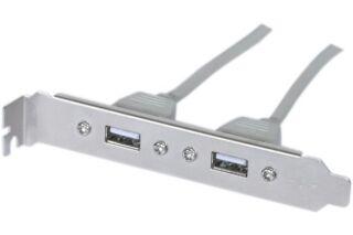 Equerre slot USB 2.0 2 ports - Carte mère DIP 10 pts
