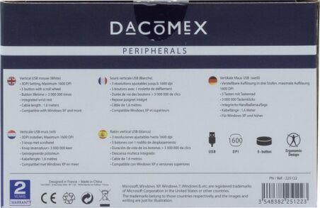 DACOMEX Souris verticale V200U USB blanche