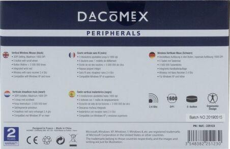 DACOMEX Souris verticale V200W sans fil noire