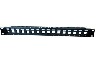 Panneau 1U 16 ports STP keystone avec support cables