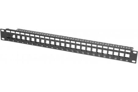 Panneau 1U 24 ports STP keystone avec support cables