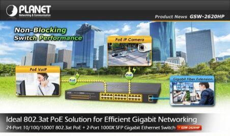 Planet GSW-2620HP SW 24P Gigabit PoE+ 220W + 2 SFP