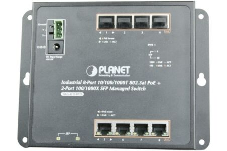 PLANET WGS-4215-8P2S Switch industriel plat 8 ports Gigabit PoE+ & Fibre