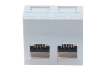 Plastron 45X45 incline 30° 2 ports RJ45 cat 6A stp