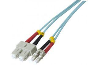 Jarretière optique duplex HD multi OM3 50/125 SC-UPC/LC-UPC aqua - 1 m