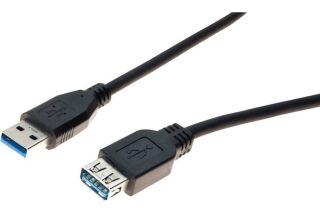 Rallonge USB 3.0 type A / A noire - 1,8 m
