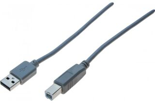 Cordon USB 2.0 A / B gris - 3,0 m