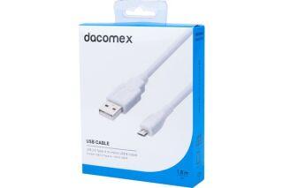 DACOMEX Cordon USB 2.0 Type-A - micro USB B blanc - 1,8 m