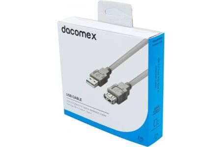 DACOMEX Rallonge USB 2.0 Type-A - Type A grise - 2 m