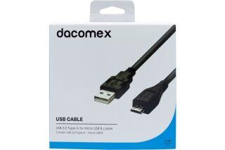 DACOMEX Cordon USB 2.0 Type-A - micro USB B noir - 1 m