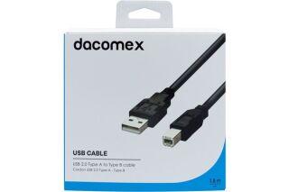 DACOMEX Cordon USB 2.0 Type-A - Type-B - 1,8 m