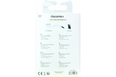 DACOMEX Ecouteurs intra-auriculaires jack 3.5 mm blanc -1,2