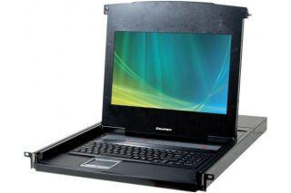 """CONSOLE LCD 18,5"""" 1080P FULL HD 4P KVM VGA/USB +Câble"""
