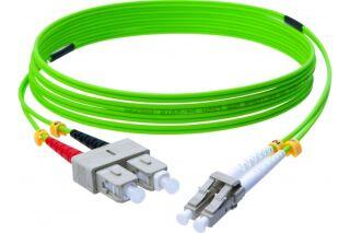 Jarretière optique duplex HD multi OM5 50/125 SC-UPC/LC-UPC vert - 10 m