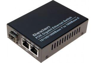 Convertisseur 2 RJ45 Gigabit PoE+/ SFP Fibre Gigabit