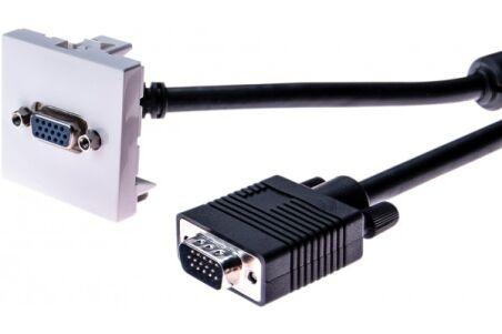 Plastron 45 x 45 avec cordon VGA coudé - 20 m