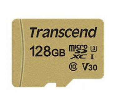 TRANSCEND Carte micro SDXC UHS I 500S Class 10 128 Go adapta