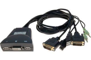 Switch KVM câbles intégrés DVI /USB/Audio 2 ports
